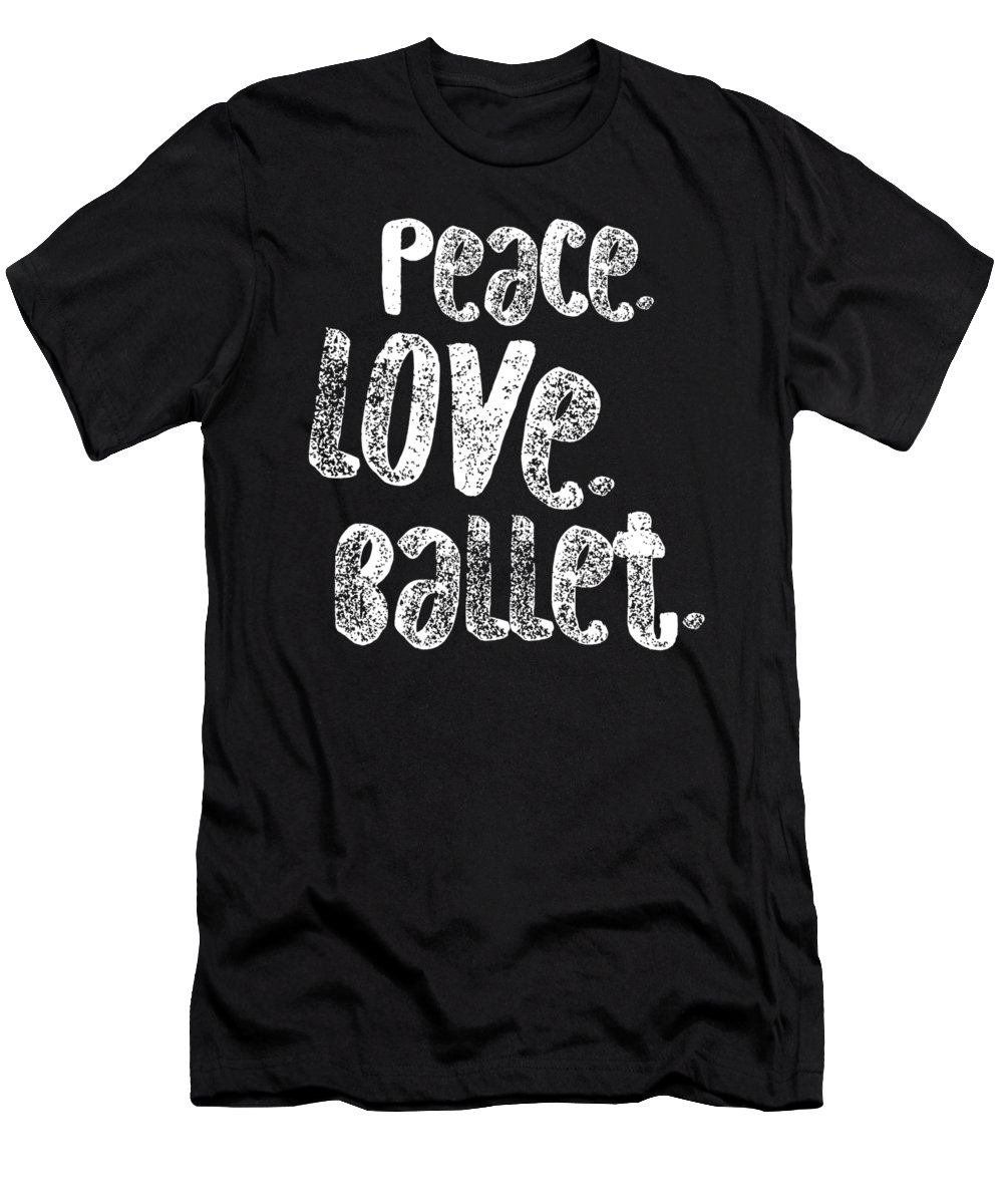 Gift-for-aunt Men's T-Shirt (Athletic Fit) featuring the digital art Peace Love Ballet Shirt Dancing Gift Cute Ballerina Girls Dancer Dance Light by J P