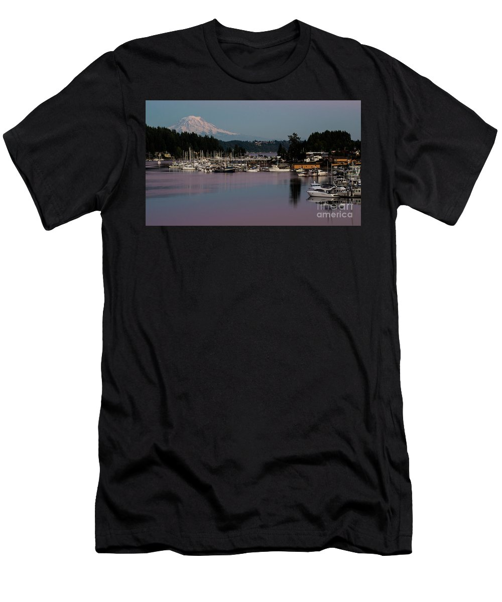 Pink Purple Glow Over Mount Rainier And Gig Harbor Marina After Sunset Men's T-Shirt (Athletic Fit) featuring the photograph Pink Purple Glow Over Mount Rainier And Gig Harbor Marina After Sunset by Yefim Bam