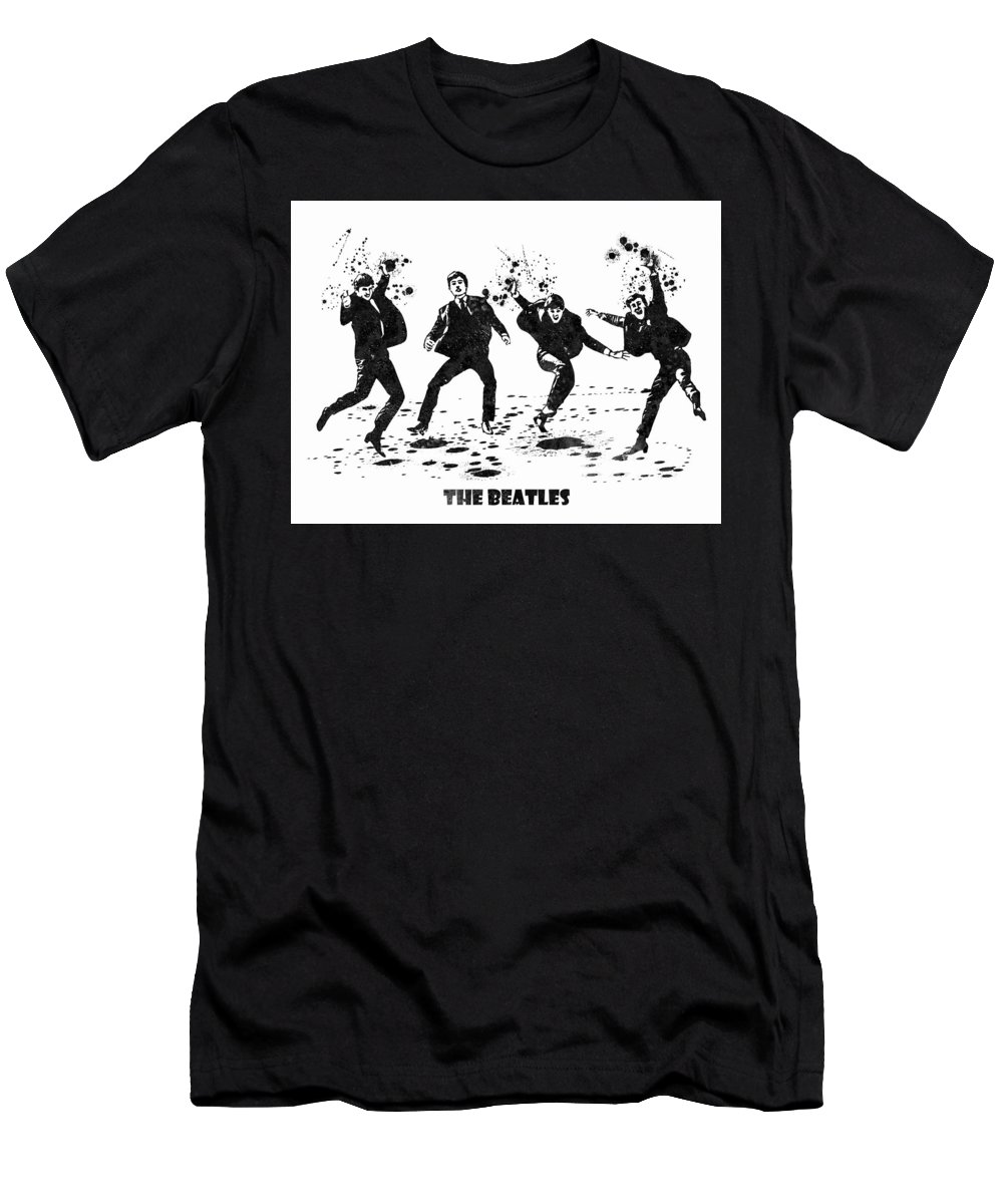 The Beatles Men's T-Shirt (Athletic Fit) featuring the painting The Beatles Black And White Watercolor 01 by JESP Art and Decor