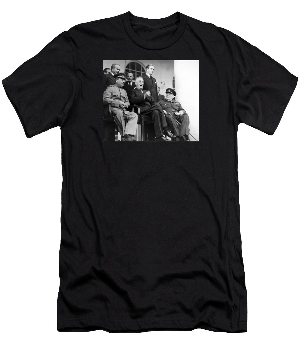Fdr T-Shirt featuring the photograph The Big Three - Ww2 - Tehran Conference 1943 by War Is Hell Store