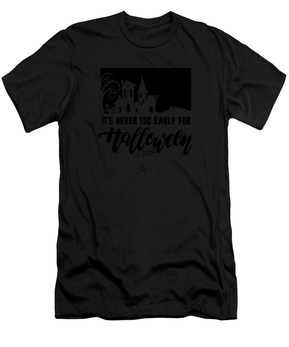 Halloween-costume Men's T-Shirt (Athletic Fit) featuring the digital art tshirt Its Never Too Early For Halloween black fill by Kaylin Watchorn