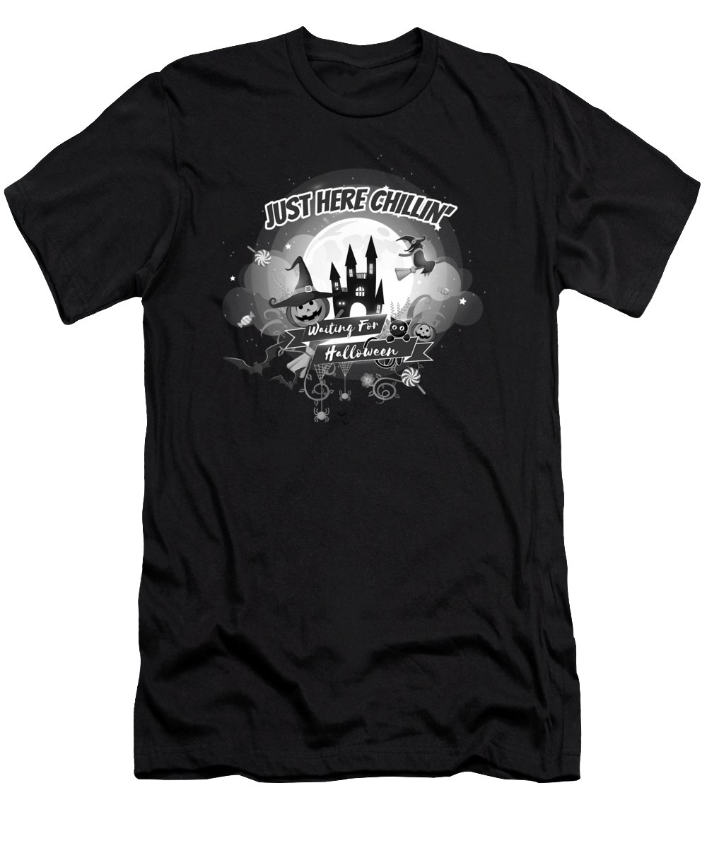 Halloween-costume Men's T-Shirt (Athletic Fit) featuring the digital art tshirt Just Here Chillin grayscale by Kaylin Watchorn
