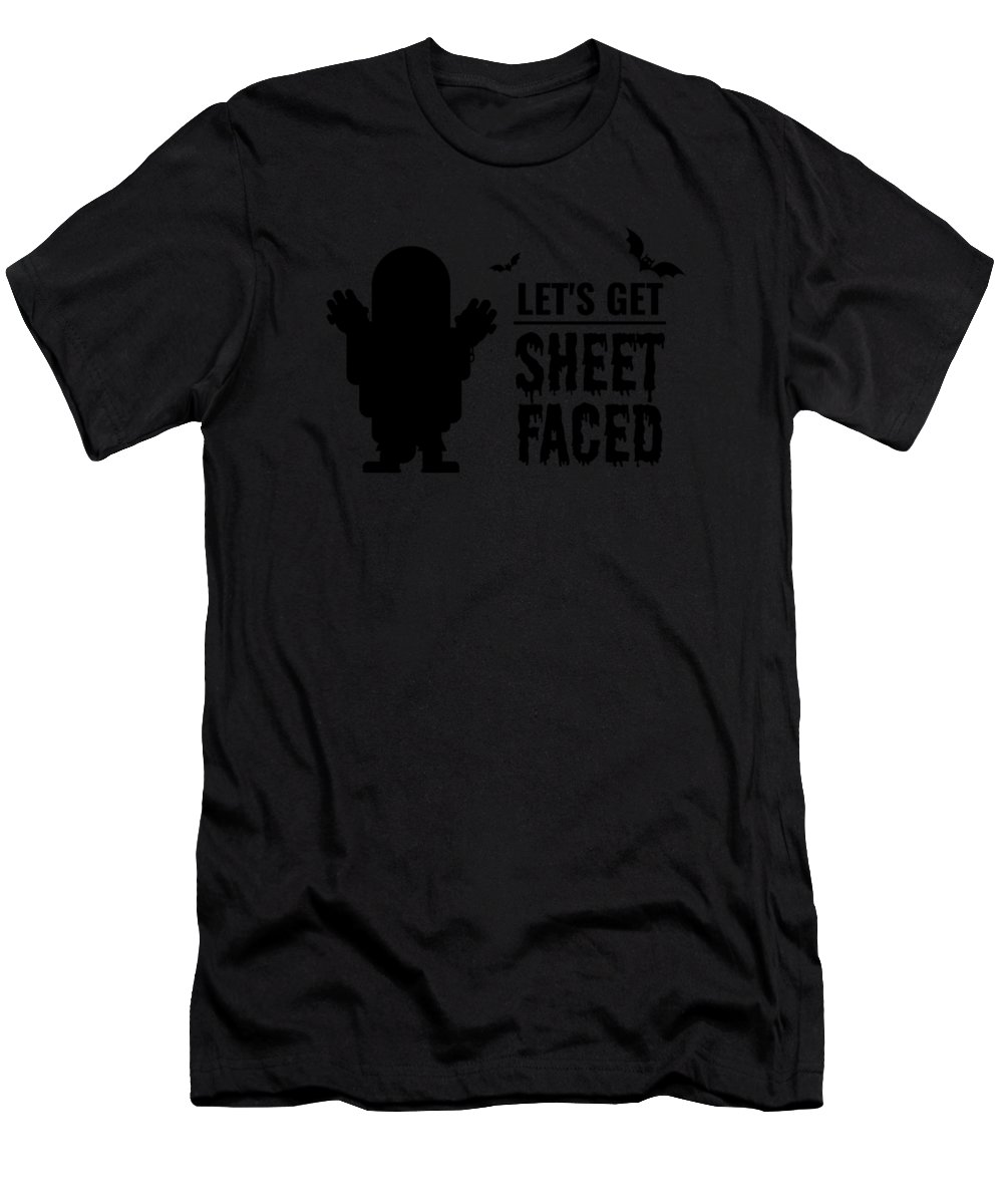 Halloween-costume Men's T-Shirt (Athletic Fit) featuring the digital art tshirt Lets Get Sheet Faced black fill by Kaylin Watchorn