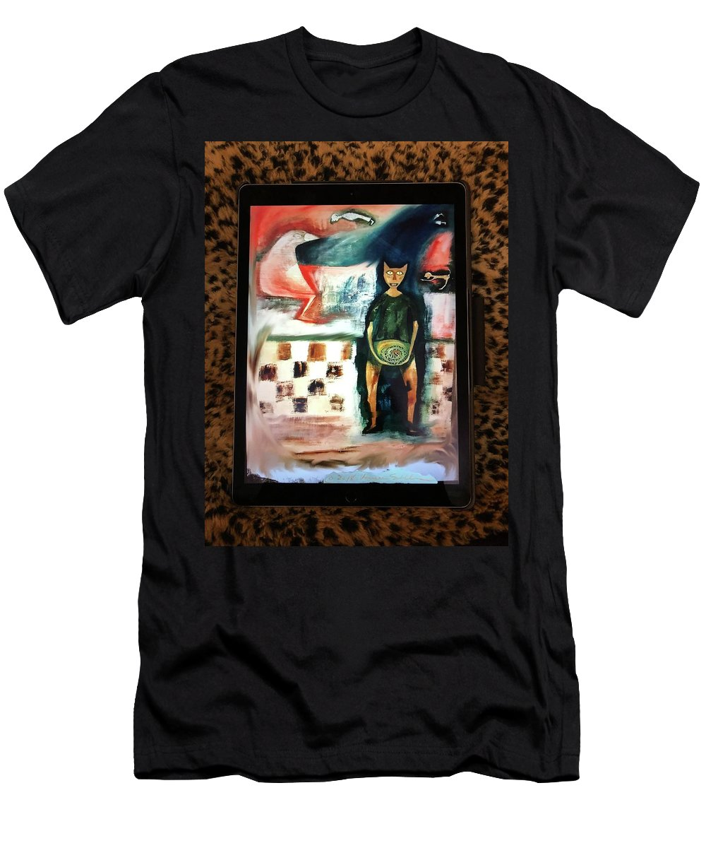 Cat Men's T-Shirt (Athletic Fit) featuring the painting Oh Cat by Laureen Sabella