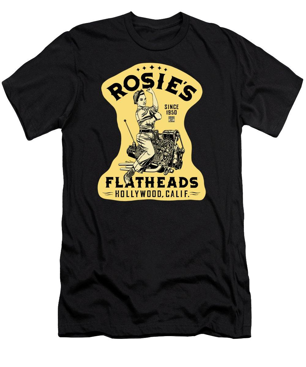 Hot Rod T-Shirt featuring the digital art Rosie's Flatheads Vintage by Ruben Duran