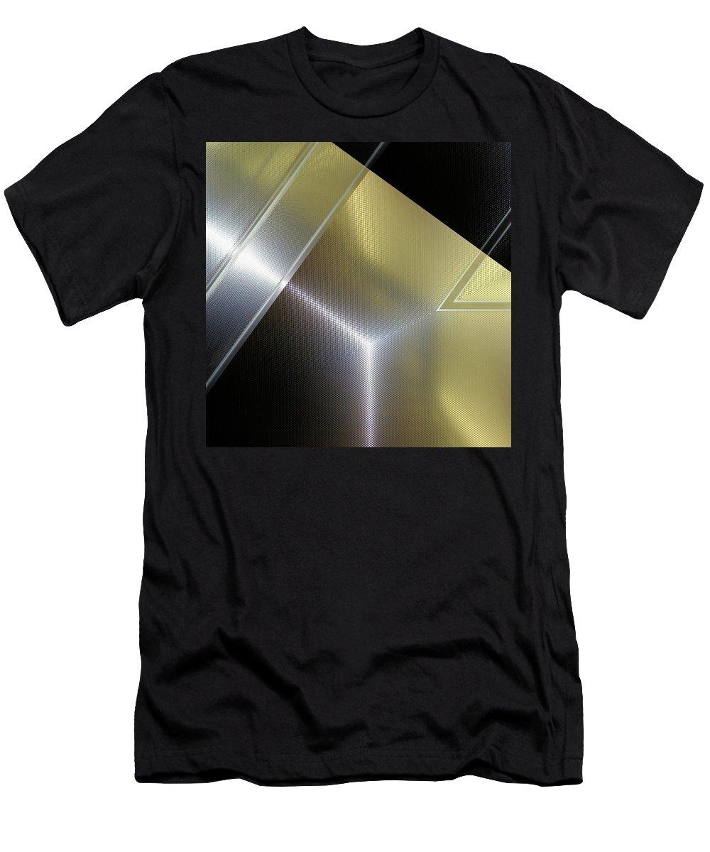 Fashion Men's T-Shirt (Athletic Fit) featuring the digital art Aluminum Surface. Metallic Geometric Image.  by Rudy Bagozzi