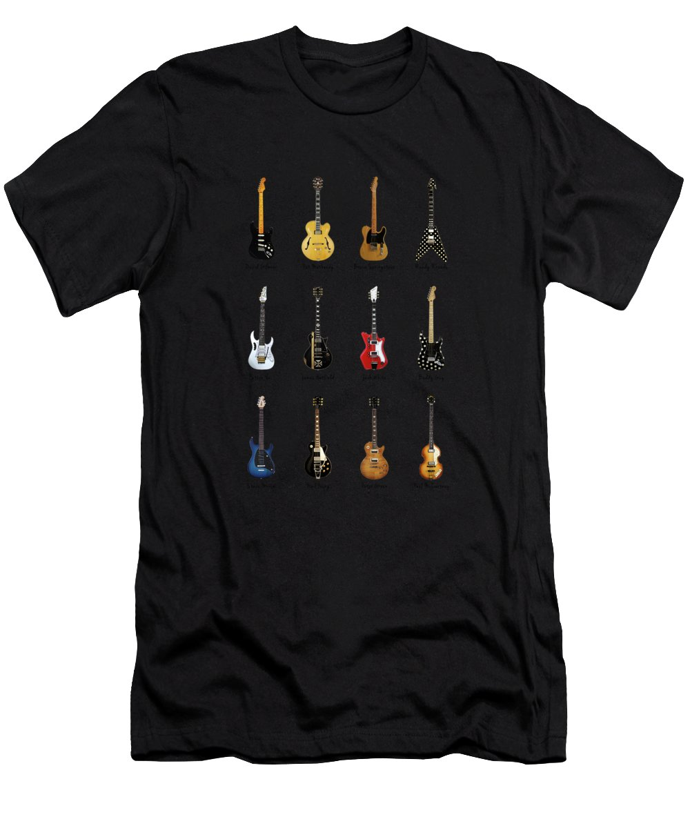 Fender Stratocaster Men's T-Shirt (Athletic Fit) featuring the photograph Guitar Icons No2 by Mark Rogan