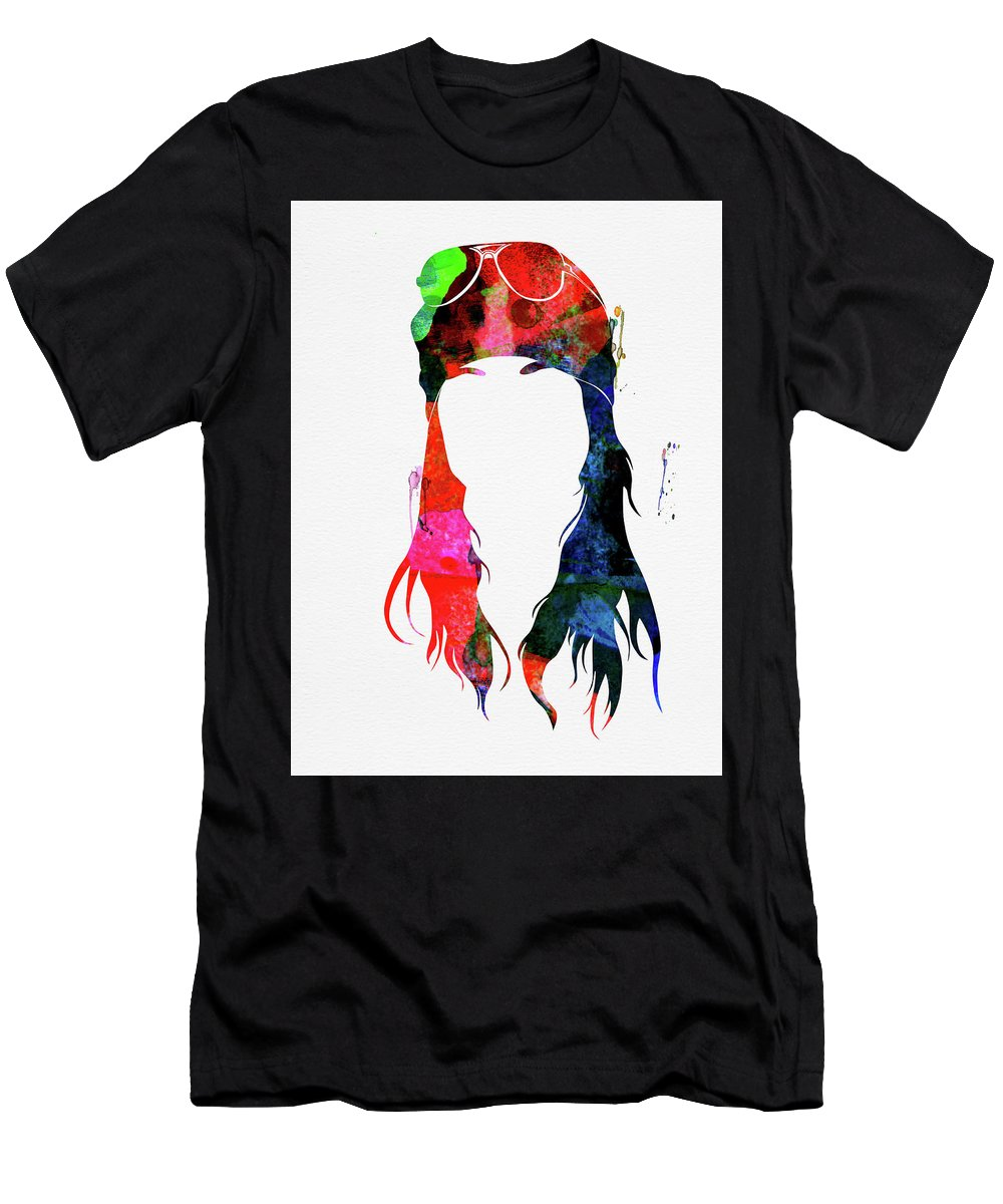 Axl Rose T-Shirt featuring the mixed media Axl Rose Watercolor by Naxart Studio