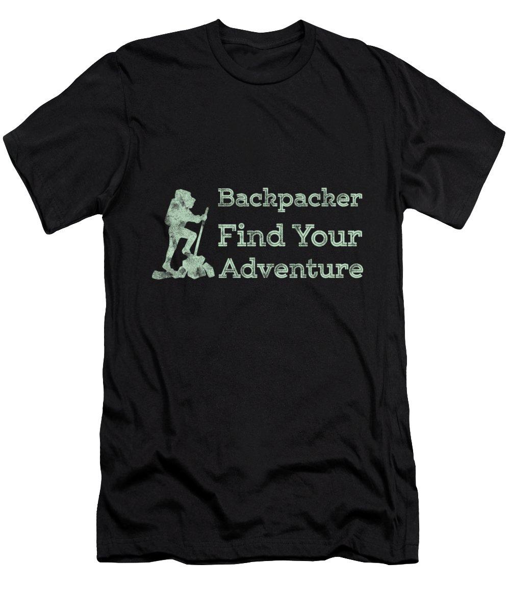 Mountain Cabin Rentals T-Shirt featuring the digital art Backpacker Find Your Adventure Green by Kaylin Watchorn