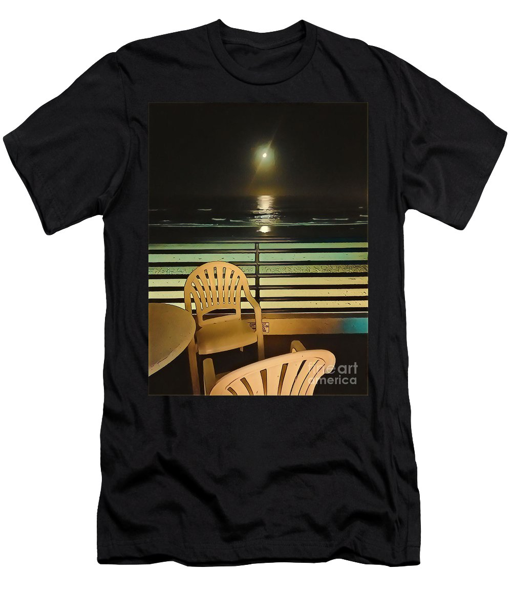 Pacific Ocean Ocean Pacific Sea Moon Moonlight Balcony Ocean Balcony Patio Pacific Ocean Patio Green Yellow Men's T-Shirt (Athletic Fit) featuring the mixed media Balcony On The Pacific Oceanside California by Tammera Malicki-Wong