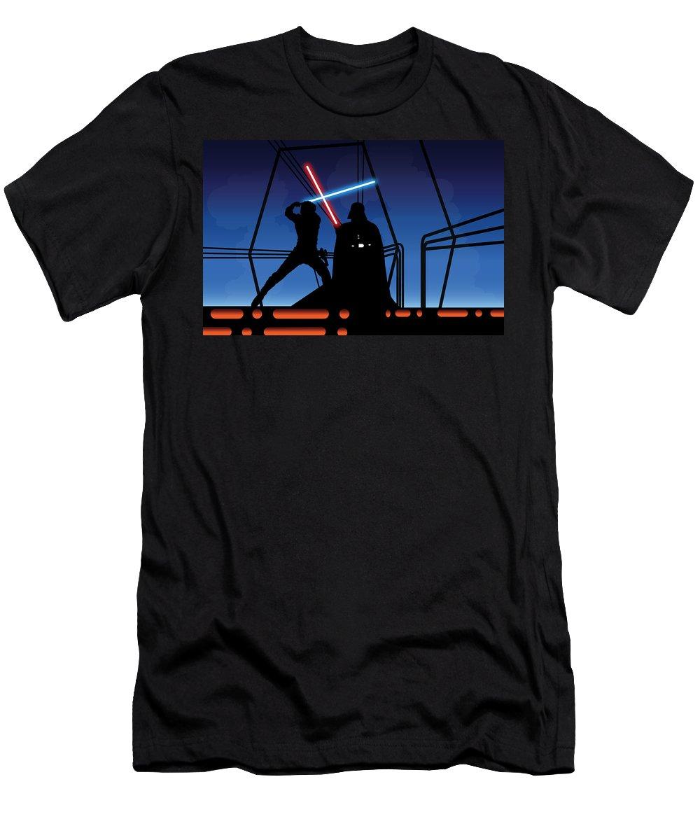 Darth Vader T-Shirt featuring the digital art Bespin Duel by Nathan Shegrud