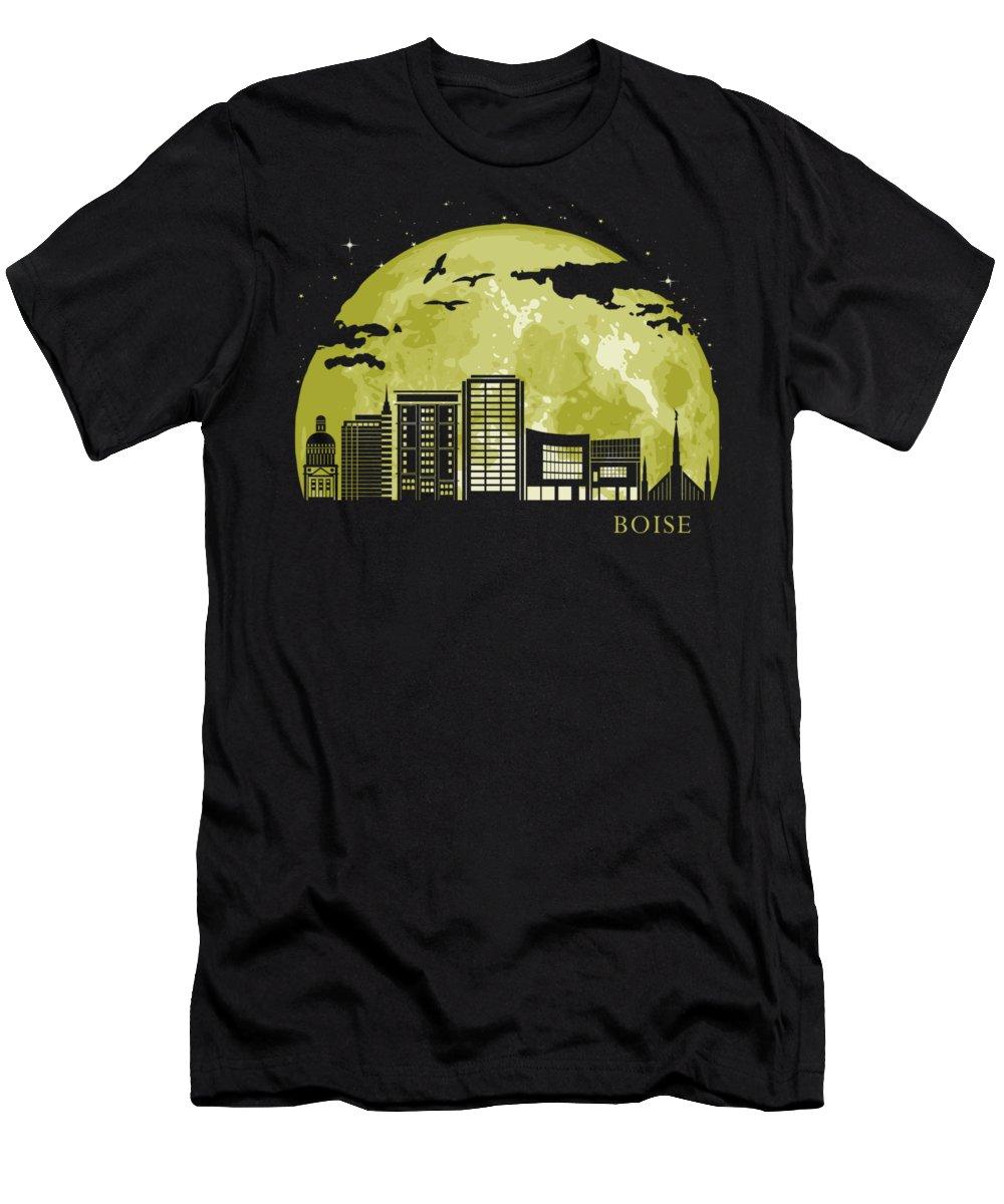 Idaho T-Shirt featuring the digital art Boise Moon Light Night Stars Skyline by Filip Hellman