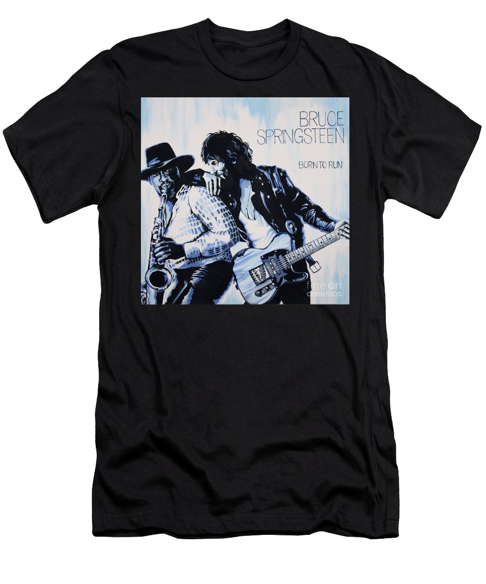 Bruce Springsteen T-Shirt featuring the painting Born to Run Bruce Springsteen by Amy Belonio