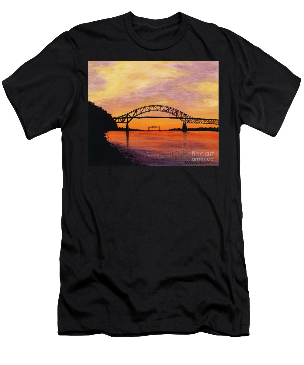 Yellow Men's T-Shirt (Athletic Fit) featuring the painting Bourne Bridge Sunset by Tracy Bowman