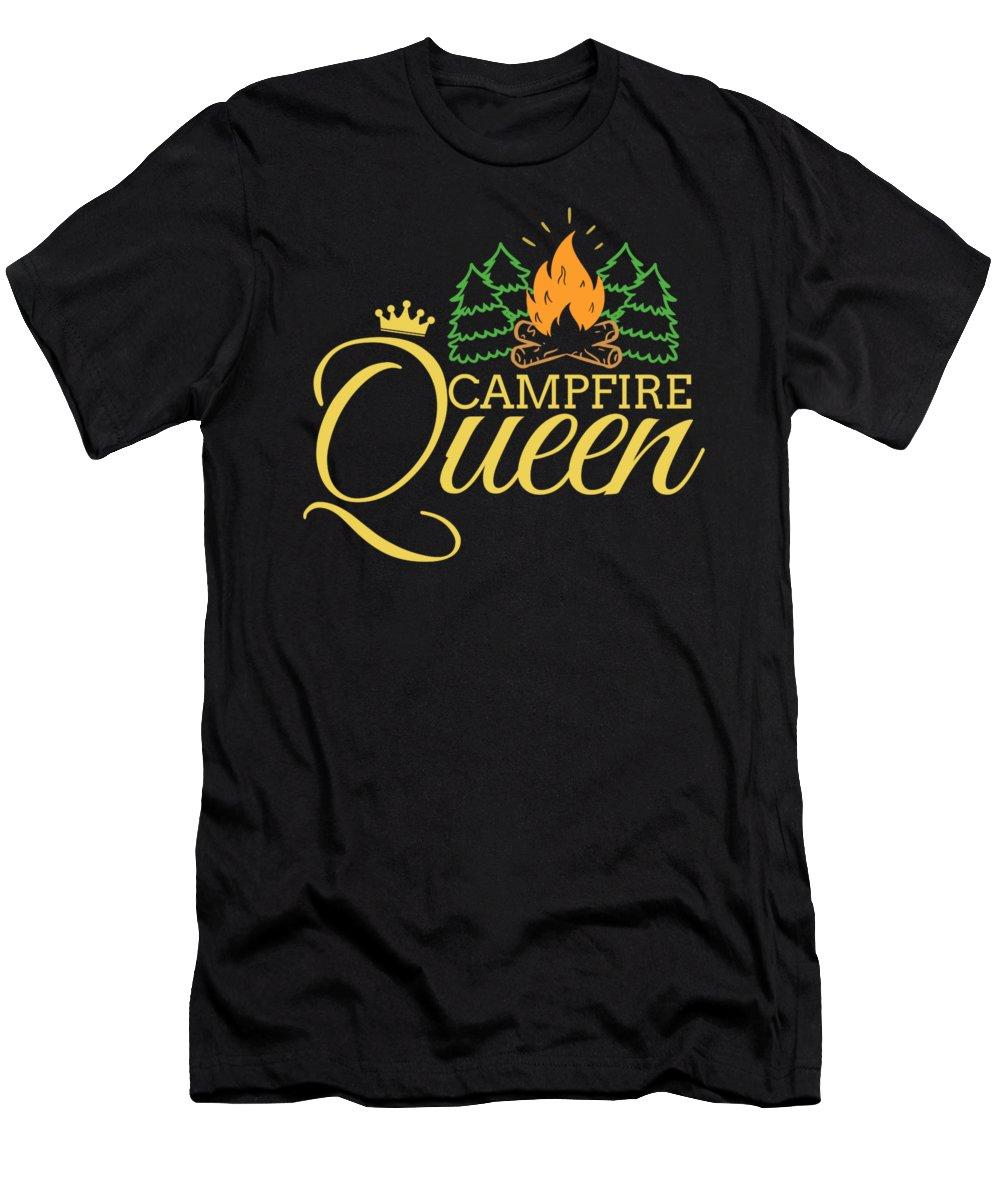 Camper Men's T-Shirt (Athletic Fit) featuring the digital art Campfire Queen Camping Caravan Camper Camp Tent by TeeQueen2603