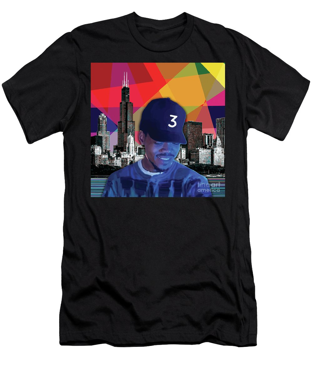 Chance The Rapper Men's T-Shirt (Athletic Fit) featuring the painting Chance Chicago by Carla B