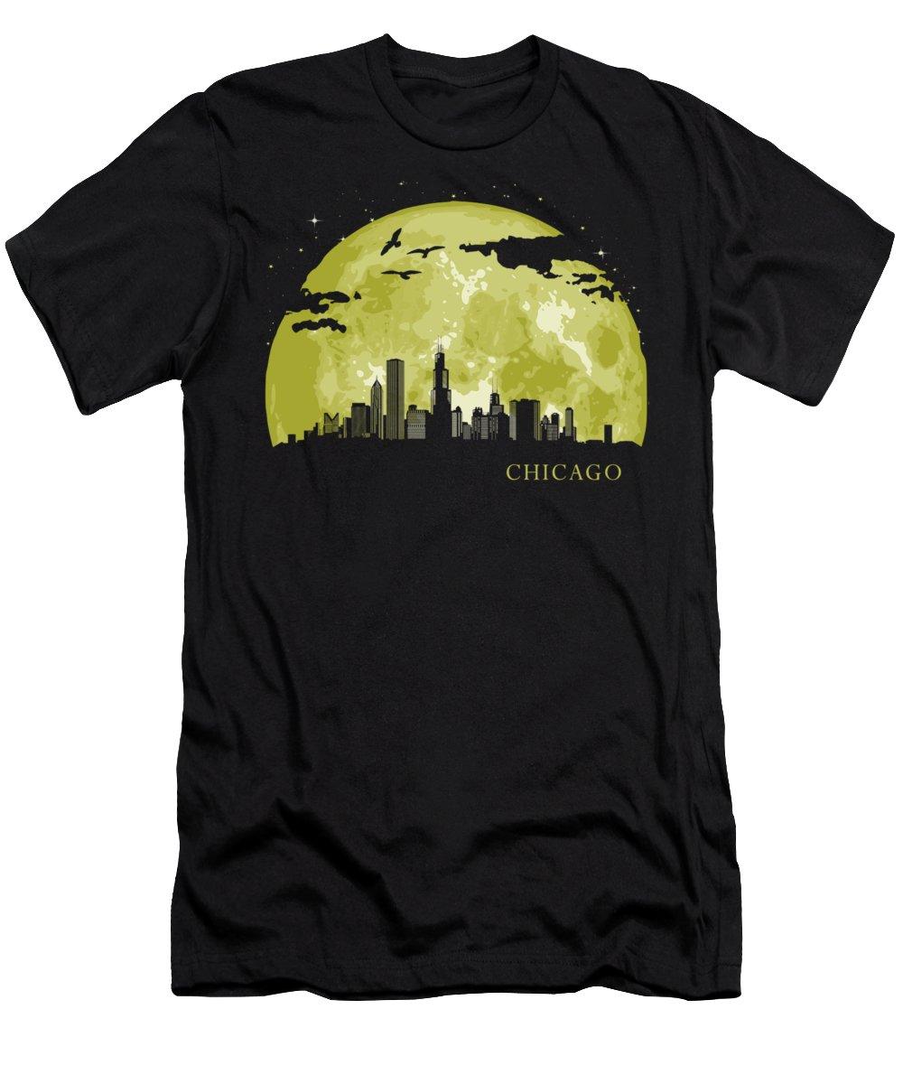 Illinois T-Shirt featuring the digital art Chicago Moon Light Night Stars Skyline by Filip Hellman