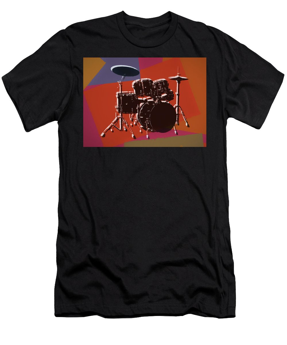 Drum Set Pop Art T-Shirt featuring the mixed media Colorful Drum Set Pop Art by Dan Sproul
