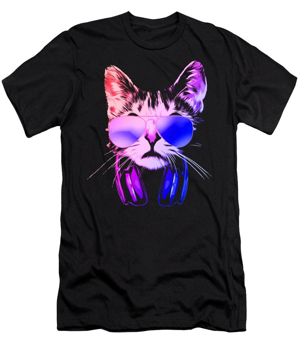 Cat T-Shirt featuring the digital art Cool DJ Cat In Neon Lights by Filip Schpindel