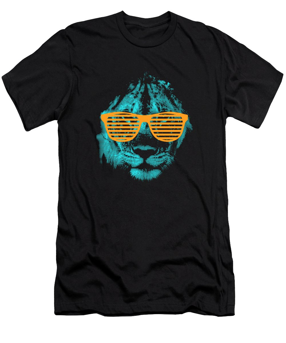Tree T-Shirt featuring the digital art Cool Retro Lion In Sunglasses by Passion Loft