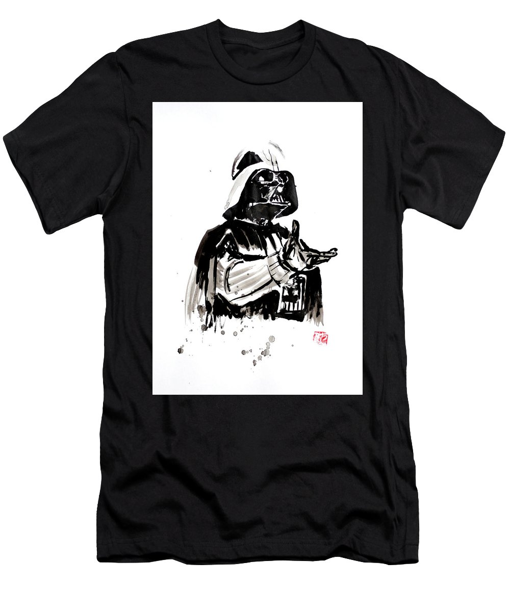 Darth Vader Men's T-Shirt (Athletic Fit) featuring the painting Darth Vader 02 by Pechane Sumie