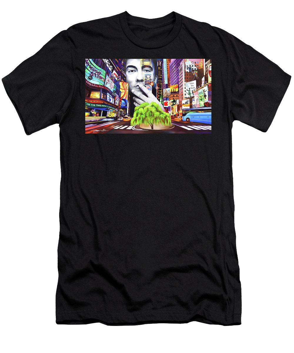 The Dave Matthews Band Men's T-Shirt (Athletic Fit) featuring the painting Dave Matthews Dreaming Tree by Joshua Morton