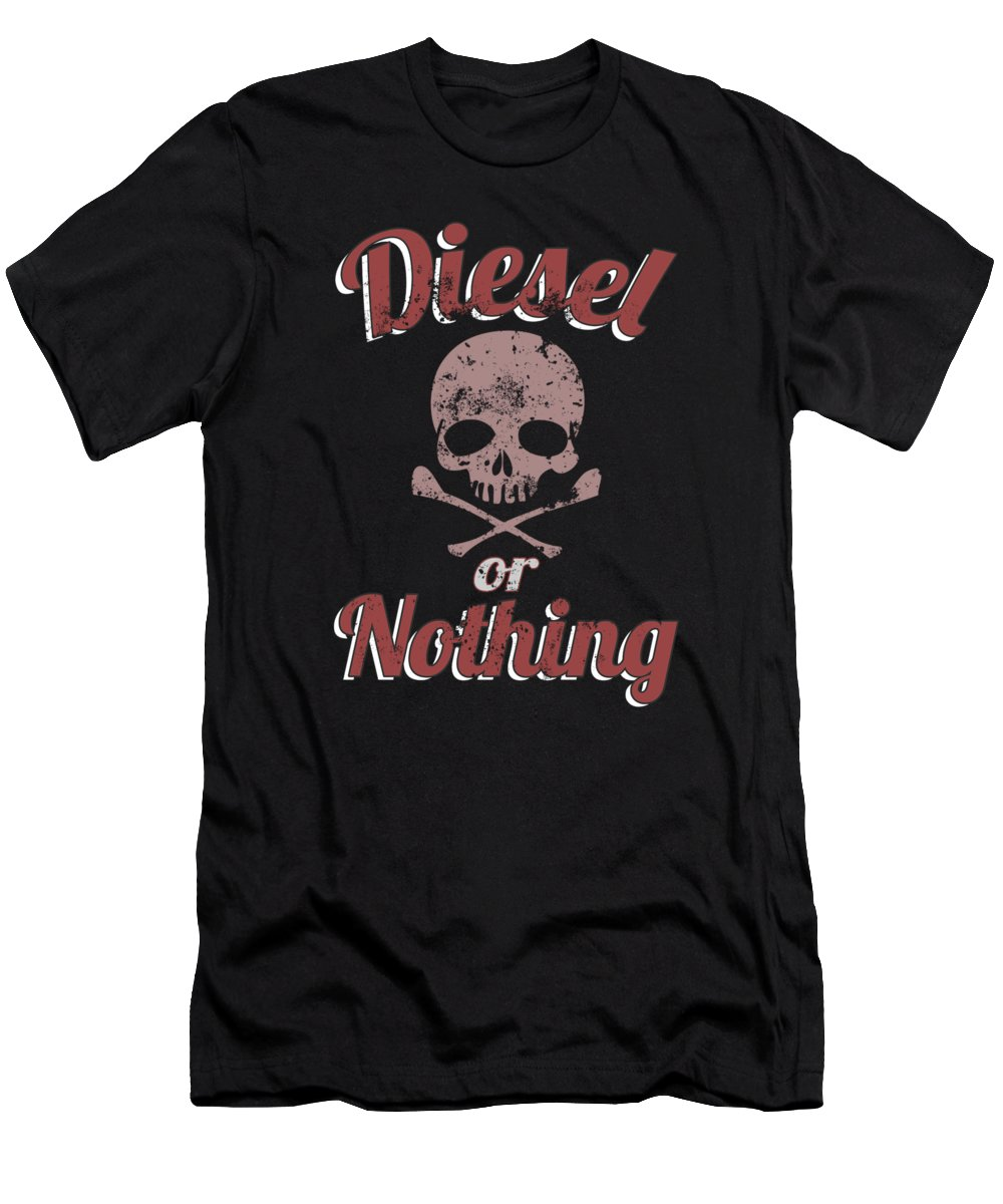 Black-smoke Men's T-Shirt (Athletic Fit) featuring the digital art Diesel Or Nothing Truck 4x4 Power Fuel Skull Red by Henry B