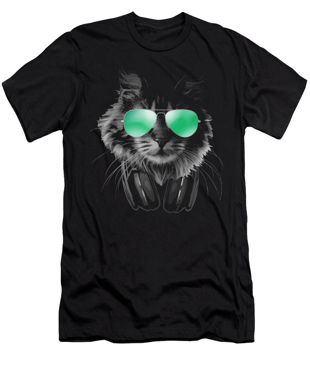 Cat T-Shirt featuring the digital art Dj Furry Cat by Filip Schpindel