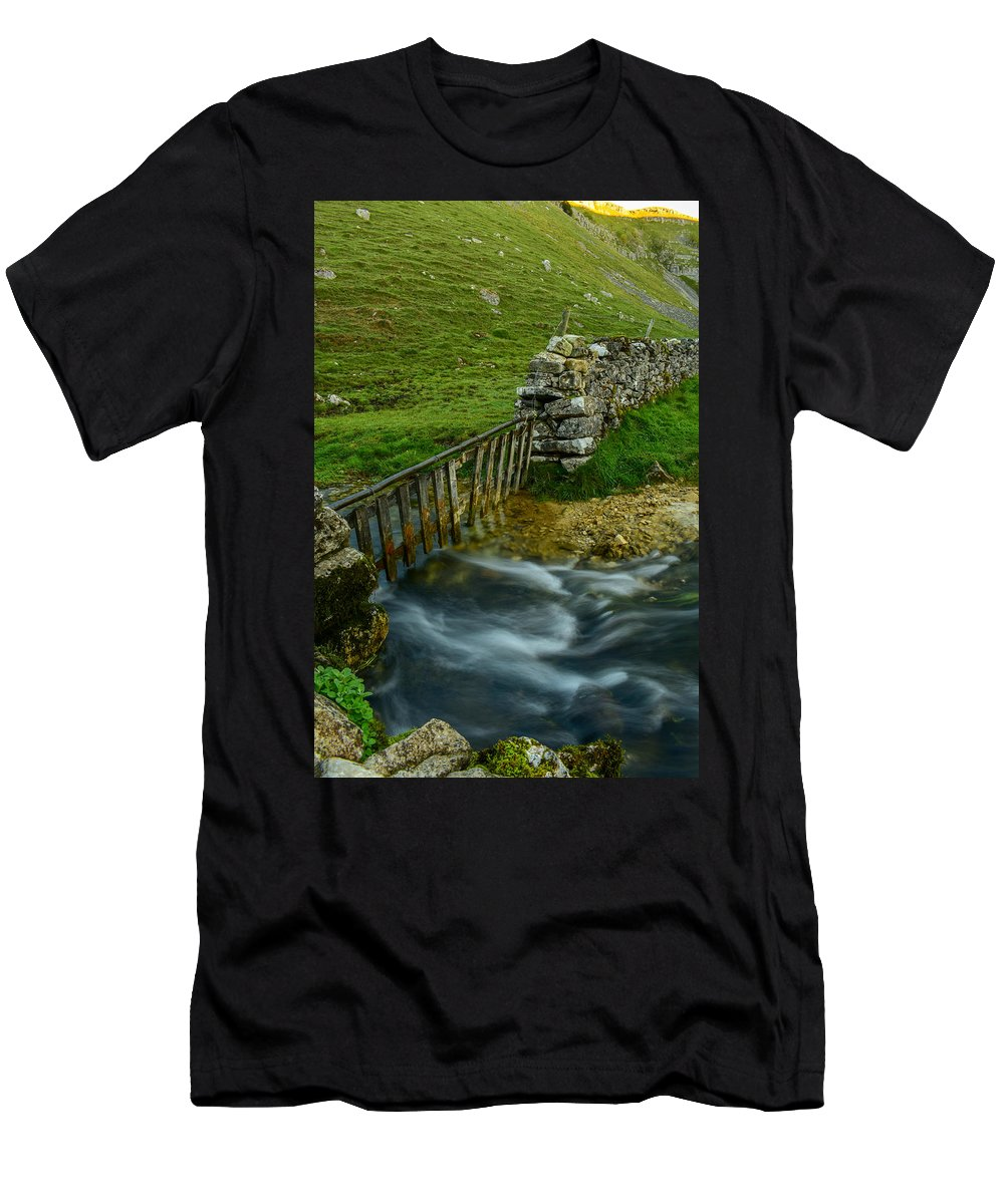 River Men's T-Shirt (Athletic Fit) featuring the photograph Down River by Daniel McNamara