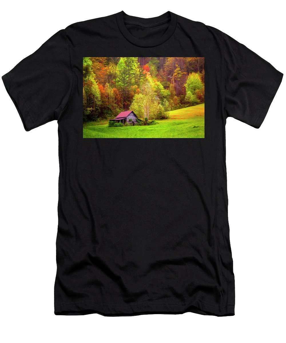 Appalachia Men's T-Shirt (Athletic Fit) featuring the photograph Embraced In Autumn Color Painting by Debra and Dave Vanderlaan