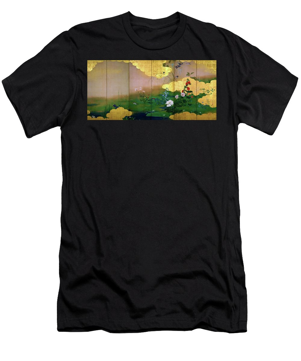 Shibata Zeshin Men's T-Shirt (Athletic Fit) featuring the painting Flowers And Birds Of The Four Seasons - Digital Remastered Edition by Shibata Zeshin