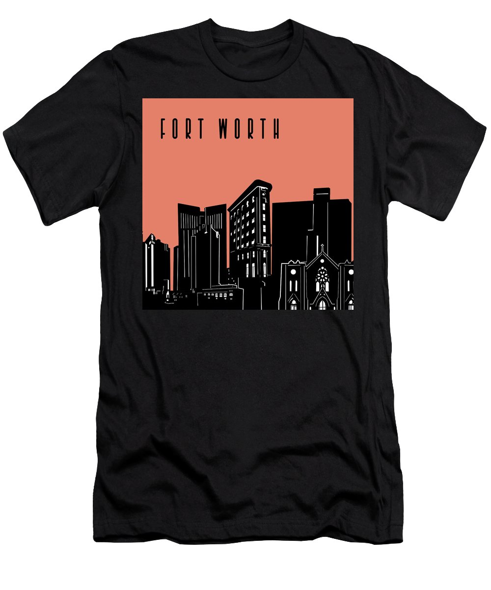 Fort Worth Men's T-Shirt (Athletic Fit) featuring the digital art Fort Worth Skyline Panorama Red by Bekim Art