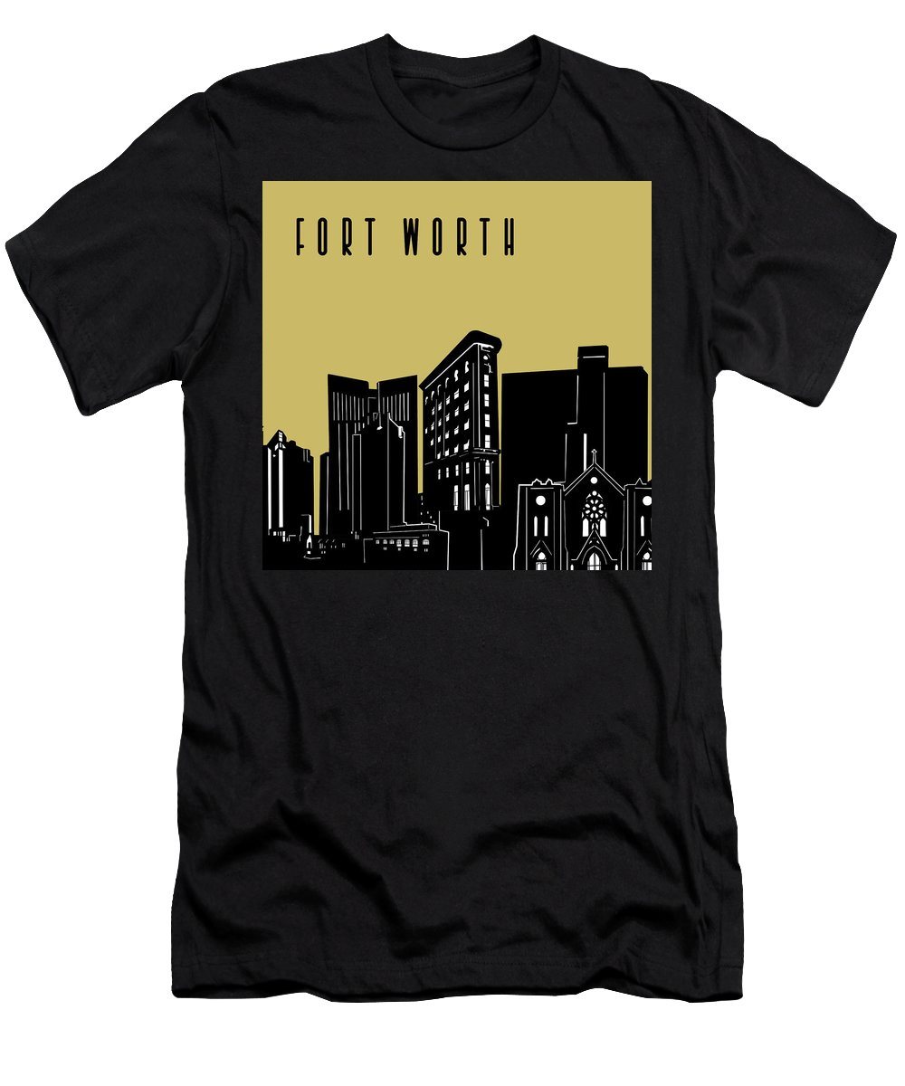 Fort Worth Men's T-Shirt (Athletic Fit) featuring the digital art Fort Worth Skyline Panorama Yellow by Bekim Art
