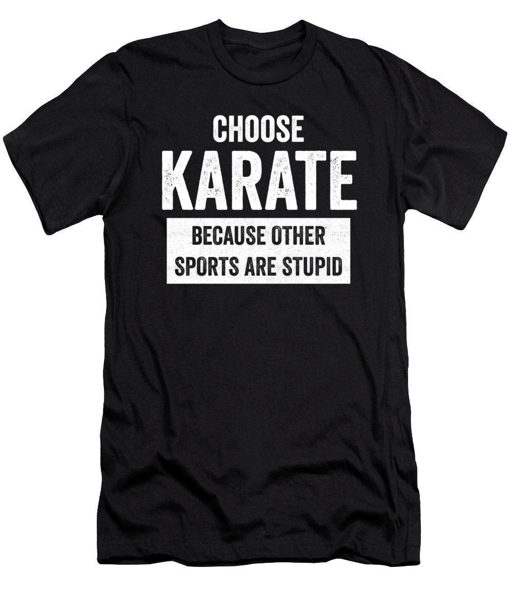 Black-belt Men's T-Shirt (Athletic Fit) featuring the digital art Funny Karate Design Choose Karate Because White Light by J P