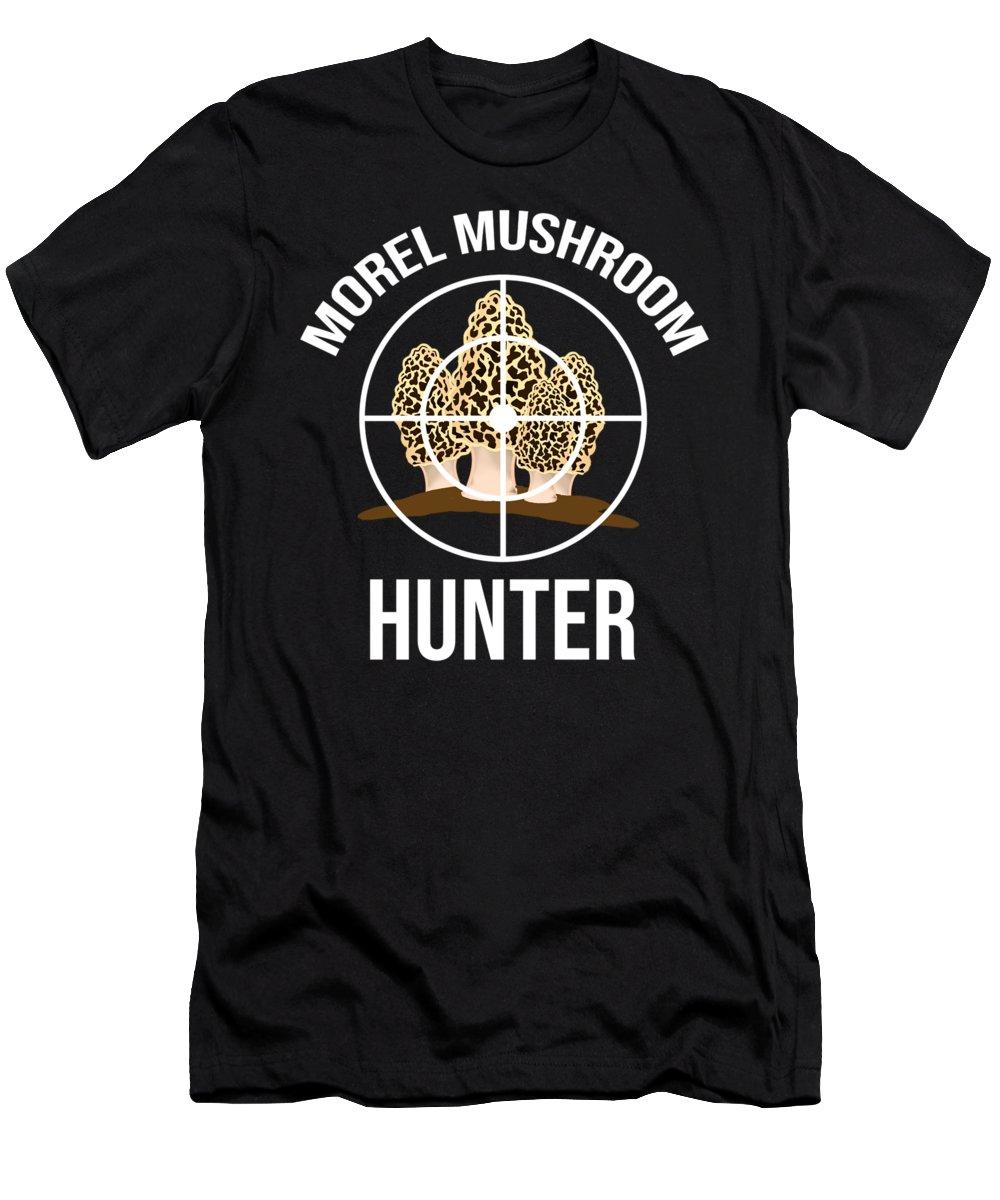 Birthday Men's T-Shirt (Athletic Fit) featuring the digital art Funny Mushroom Morel Mushroom Hunter Gift by TeeQueen2603