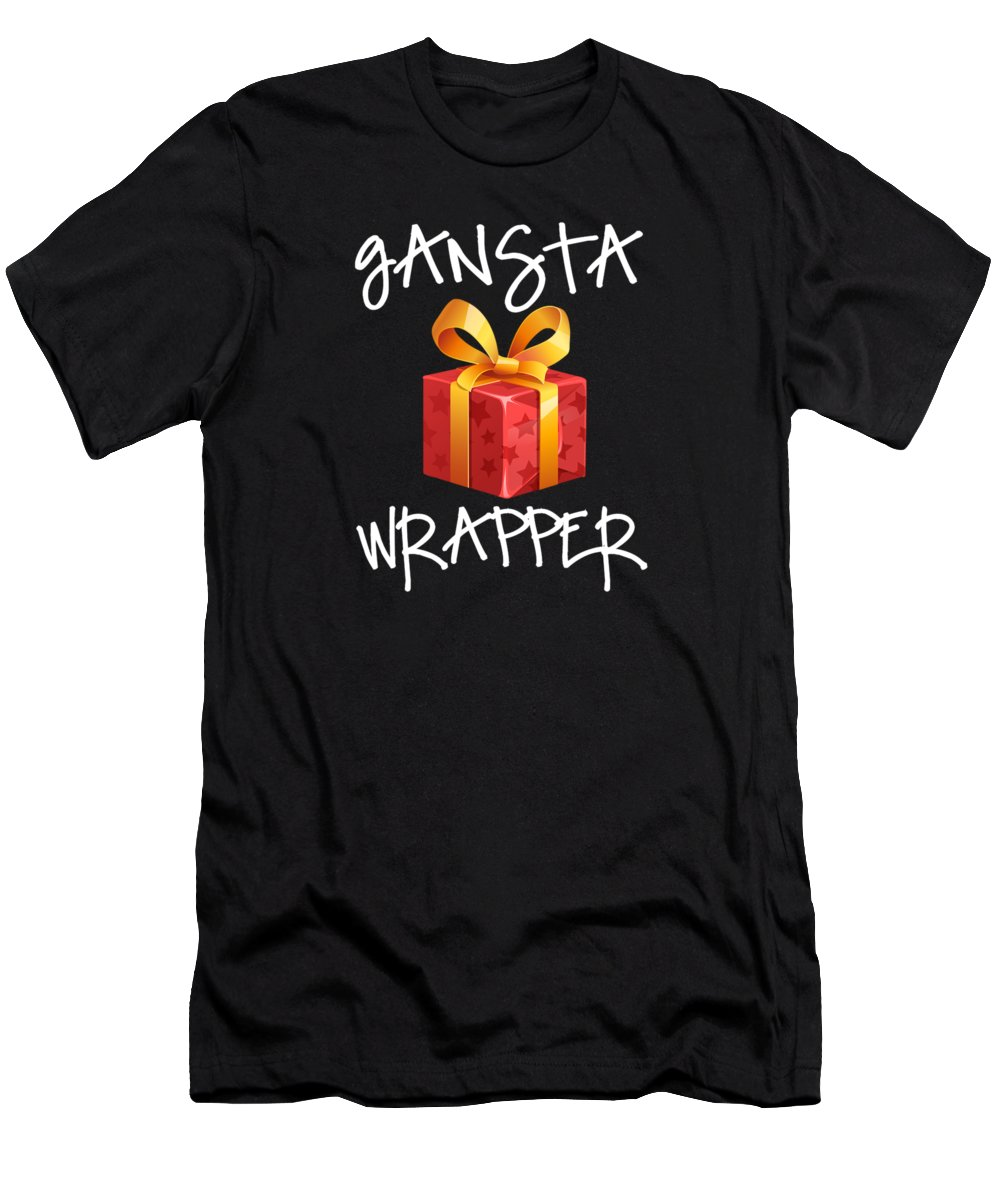 Santa-claus Men's T-Shirt (Athletic Fit) featuring the digital art Gangsta Wrapper Funny Christmas Xmas Gift by Thomas Larch