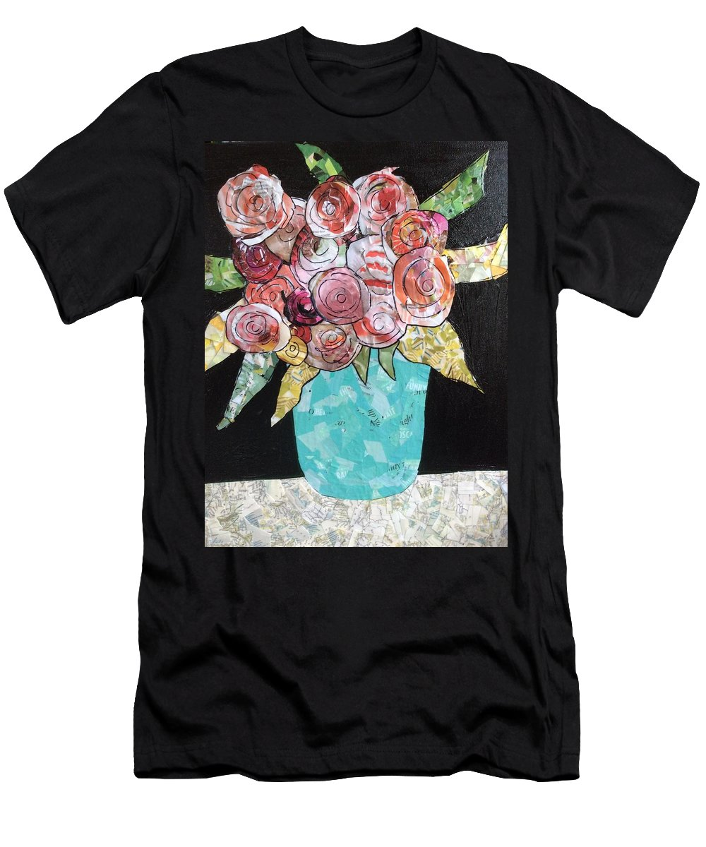 Roses Men's T-Shirt (Athletic Fit) featuring the mixed media Garden Roses by Karla Clark