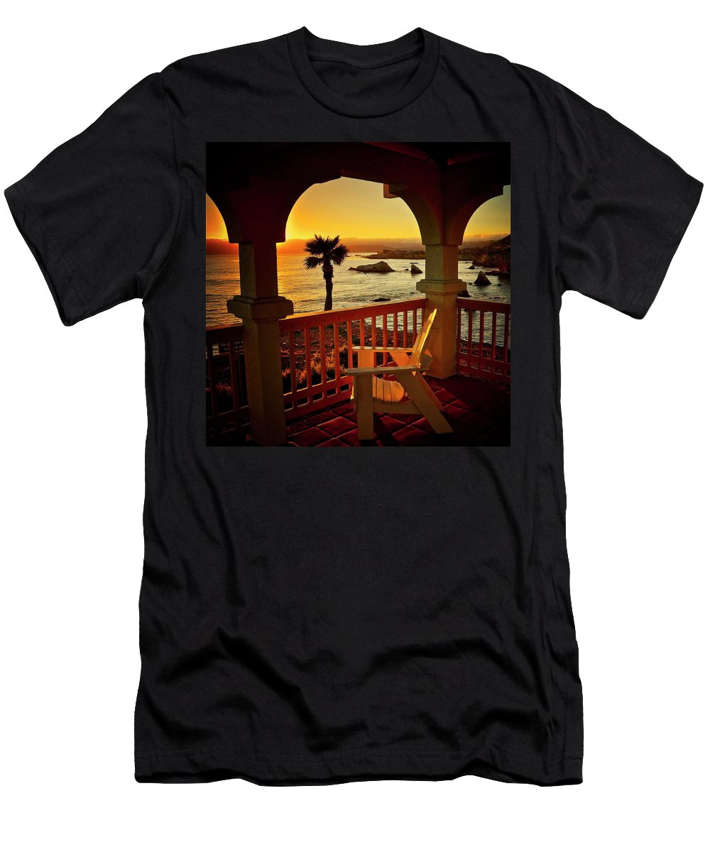 Nature T-Shirt featuring the photograph Gazebo View of Central California Coast by Zayne Diamond Photographic