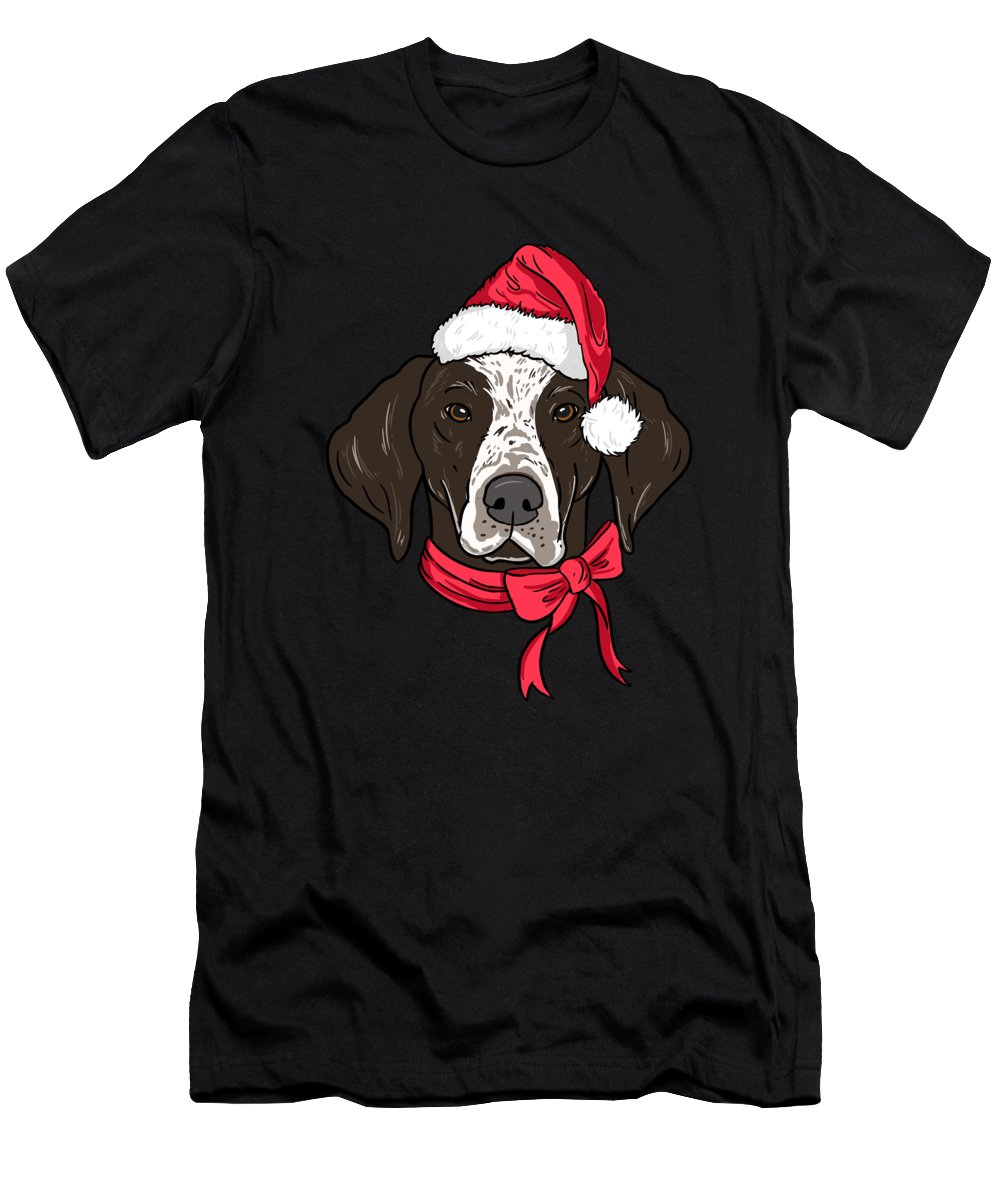 Dog Men's T-Shirt (Athletic Fit) featuring the digital art German Shorthair Xmas Hat Dog Lover Christmas by TeeQueen2603