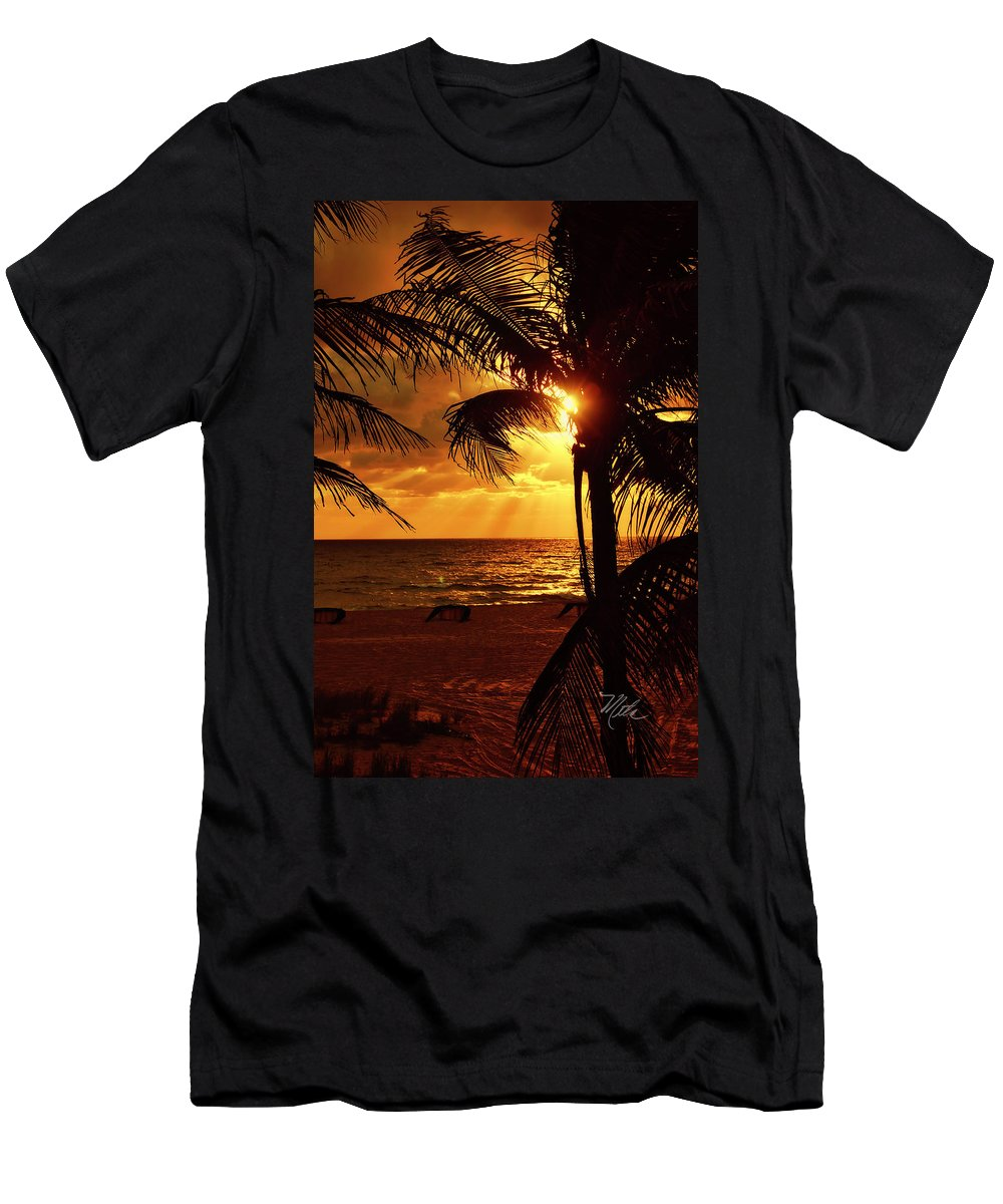Sunrise T-Shirt featuring the photograph Golden Palm Sunrise by Meta Gatschenberger