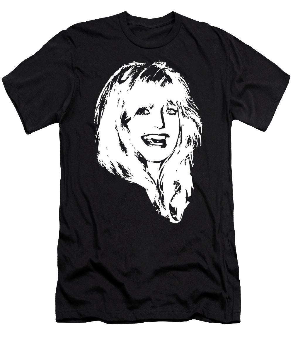 Goldie Hawn T-Shirt featuring the digital art Goldie Hawn Minimalistic Pop Art by Filip Schpindel