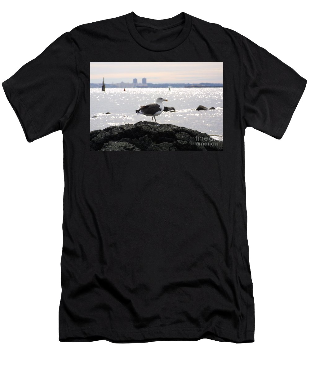 Lone Gull Stands On Rock Men's T-Shirt (Athletic Fit) featuring the photograph Gull Isle II by Darren Dwayne Frazier