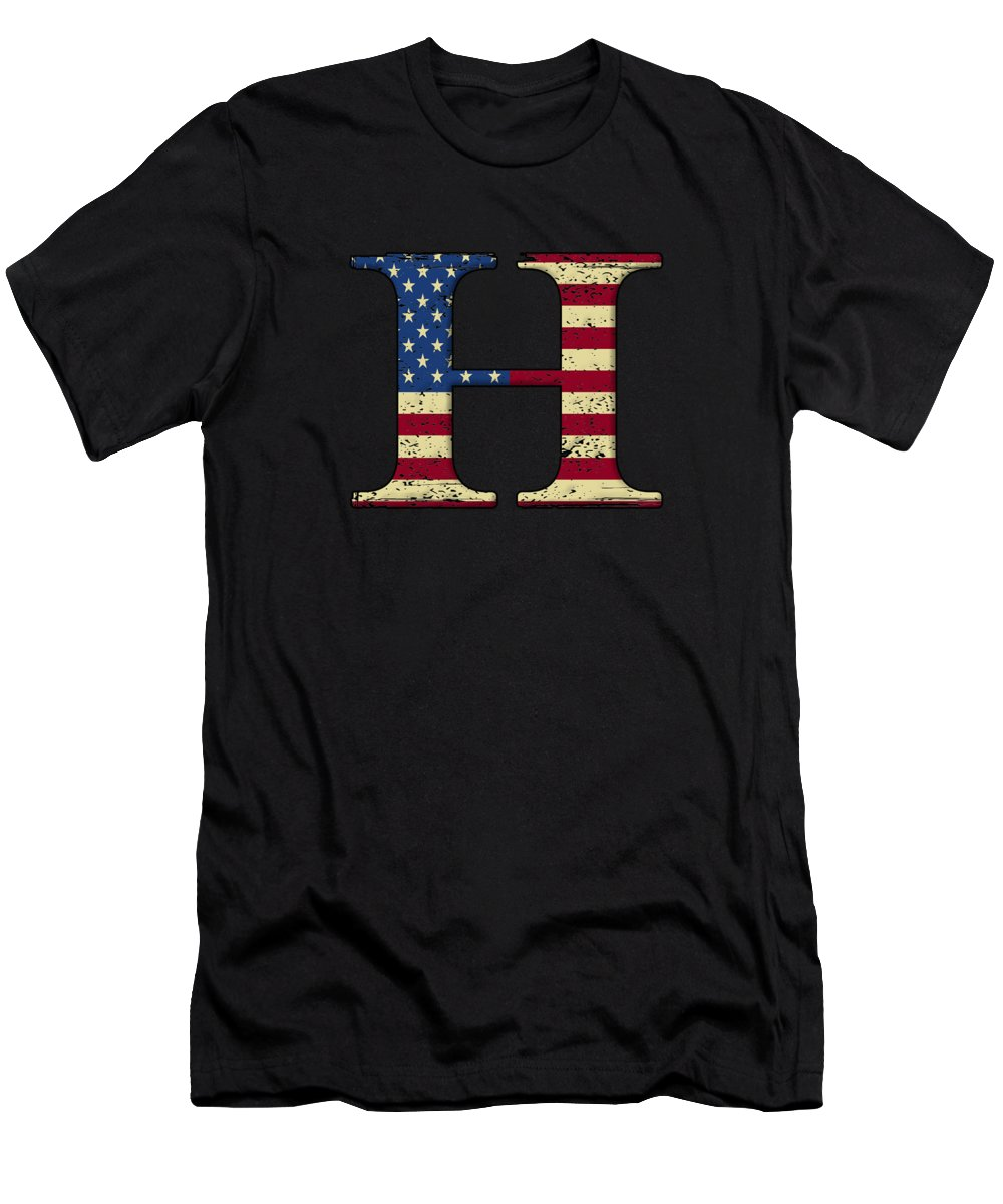 Q-anon Men's T-Shirt (Athletic Fit) featuring the digital art H Qanon Wwg1wga Usa Flag Group Q Anon Great Awakening by Henry B