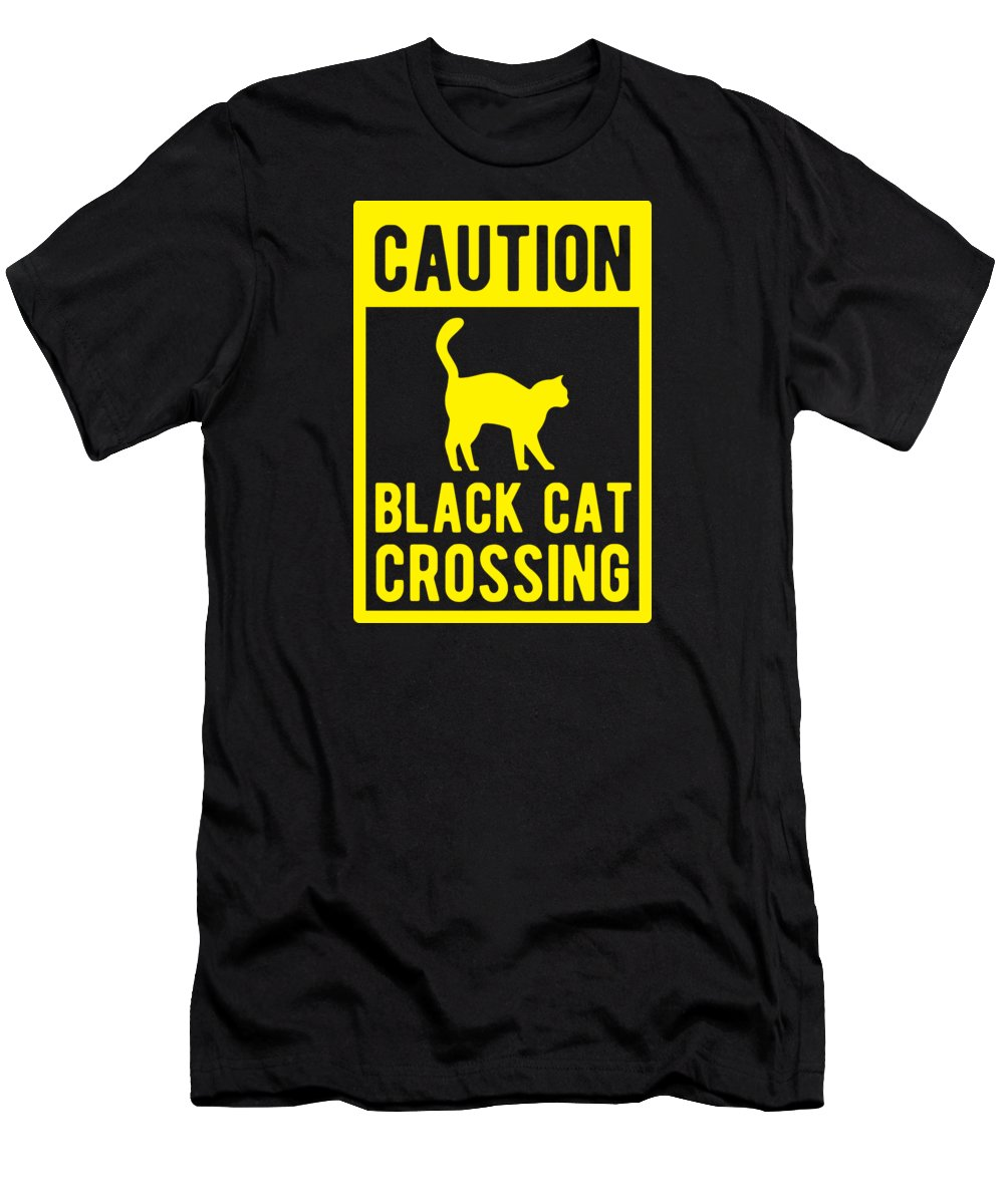 Halloween-costume Men's T-Shirt (Athletic Fit) featuring the digital art Halloween Shirt Caution Black Cat Crossing Gift Tee by Haselshirt