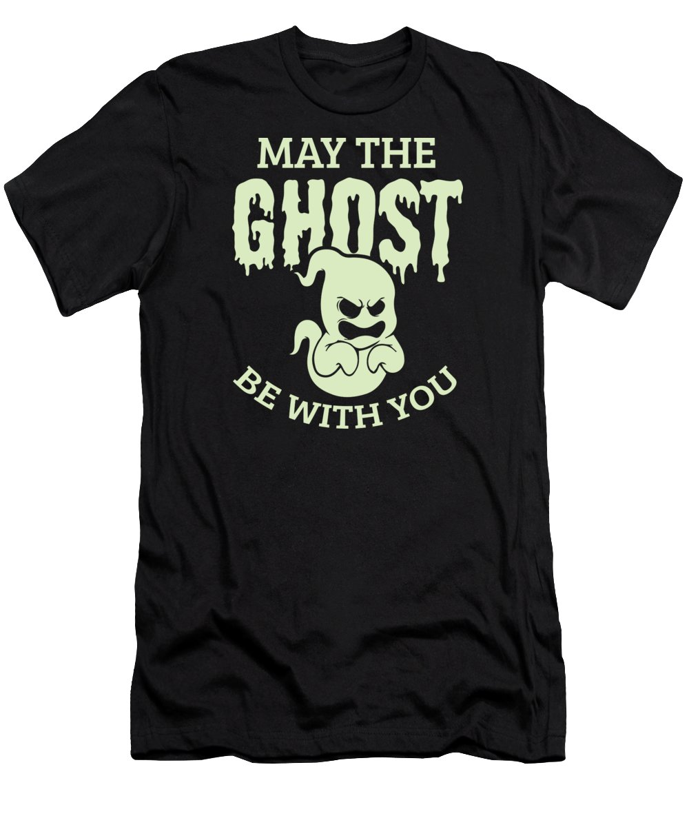 Halloween-costume Men's T-Shirt (Athletic Fit) featuring the digital art Halloween Shirt May The Ghost Be With You Gift Tee by Haselshirt