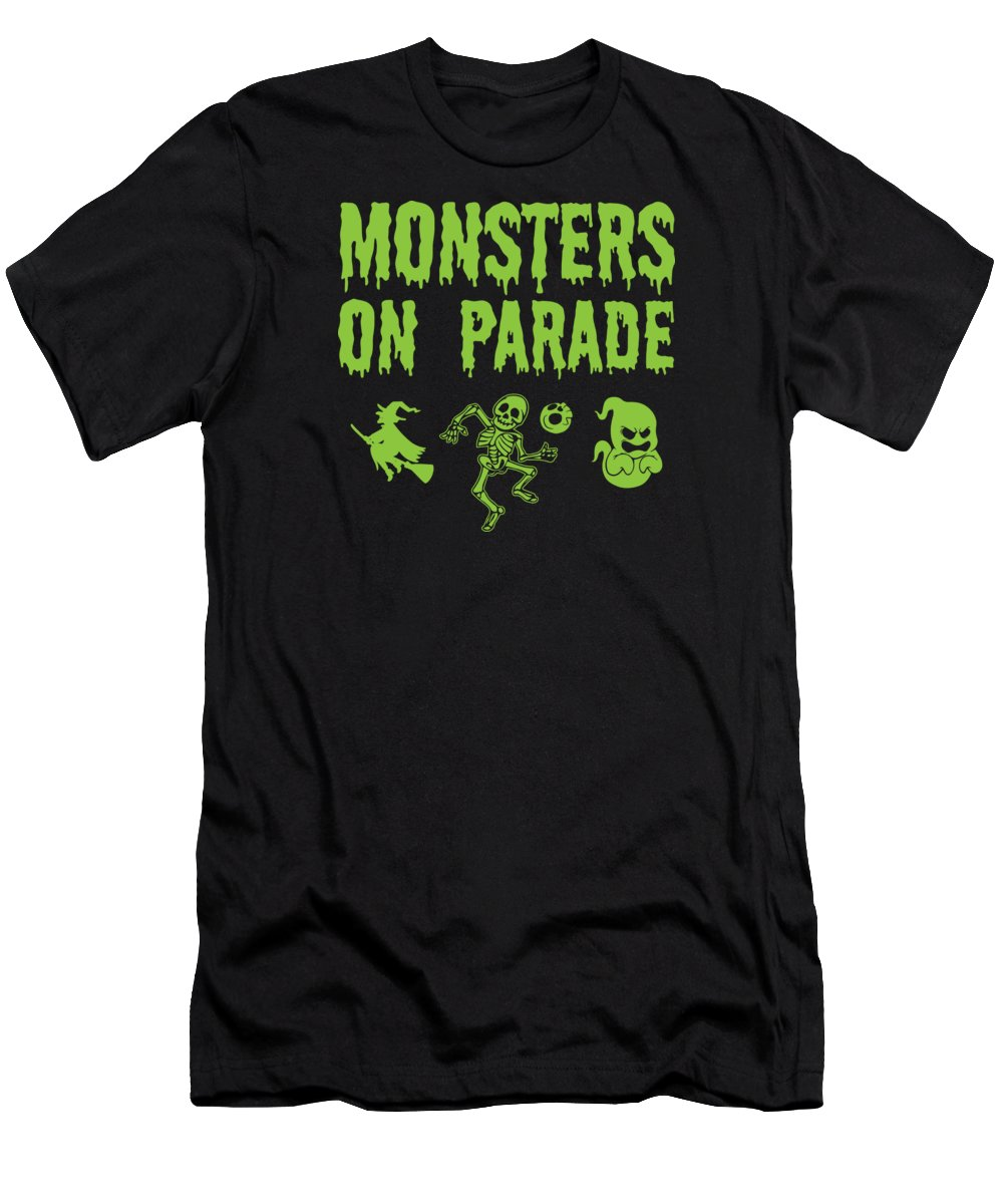 Halloween-costume Men's T-Shirt (Athletic Fit) featuring the digital art Halloween Shirt Monsters On Parade Green Gift Tee by Haselshirt