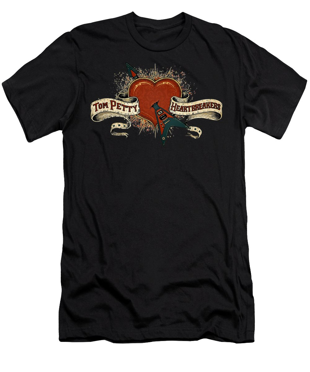 Tom Petty And The Heartbreakers Men's T-Shirt (Athletic Fit) featuring the digital art Heartbreak Cool Tom by Chriscloress