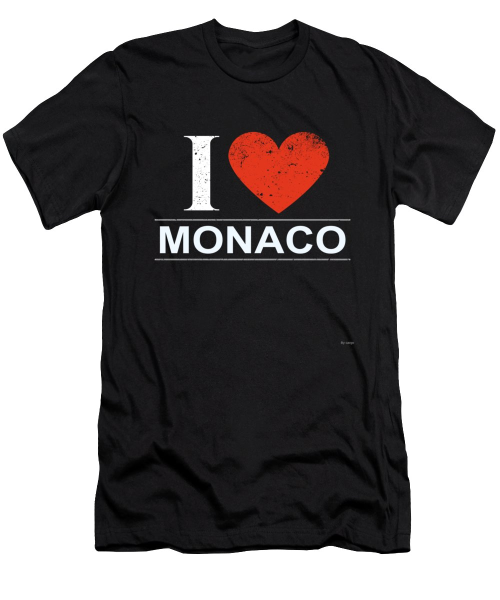 Gift Men's T-Shirt (Athletic Fit) featuring the digital art I Love Monaco by Jose O