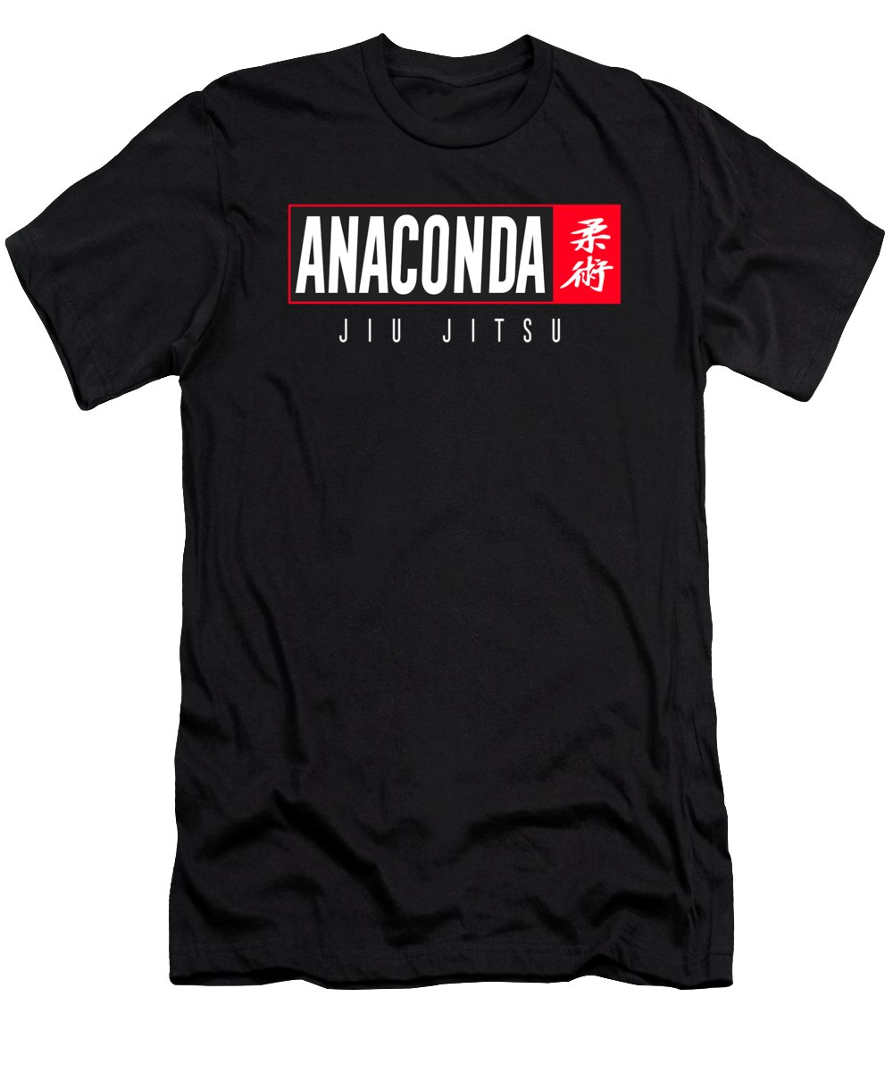 Bjj Men's T-Shirt (Athletic Fit) featuring the digital art Jiu Jitsu Black Belt Anaconda Light Gift Martial Arts Bjj by J P