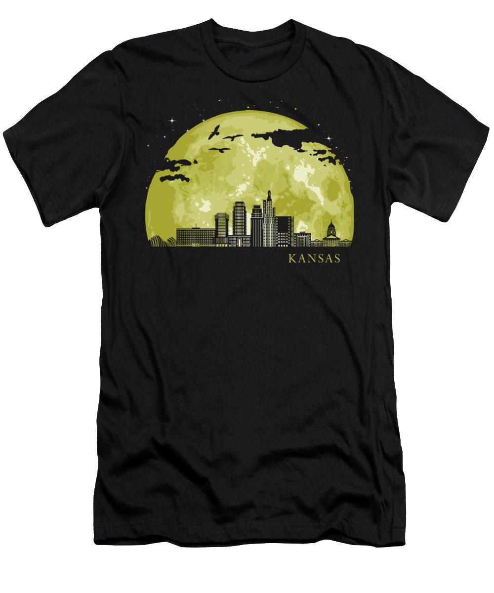 Texas T-Shirt featuring the digital art Kansas Moon Light Night Stars Skyline by Filip Hellman